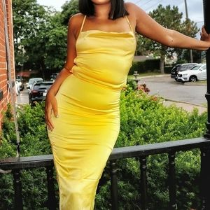 Satin Cowl Midi dress
